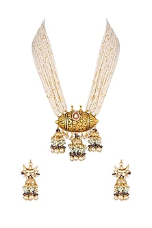 Gold Finish Moti Necklace Set by Khushi Jewels