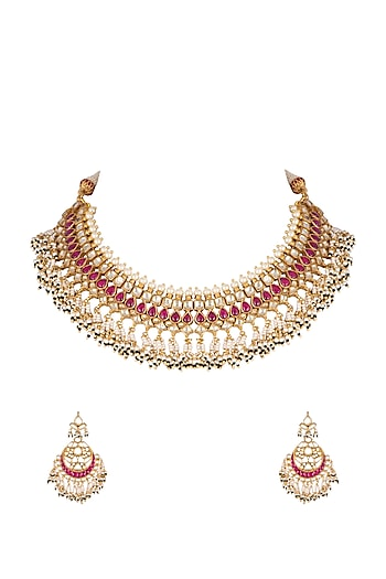 Gold Finish Beaded Necklace Set by Khushi Jewels
