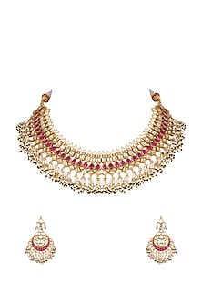 Gold Finish Beaded Necklace Set by Khushi Jewels