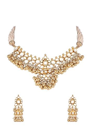 Gold Finish Kundan Choker Necklace Set by Khushi Jewels