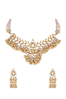 Gold Finish Kundan Choker Necklace Set by Khushi Jewels