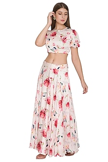 Blush Pink Floral Crop Top With Skirt by Khushbu Rathod