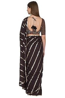 Black Sequins Tasseled Saree Set by Khushbu Rathod