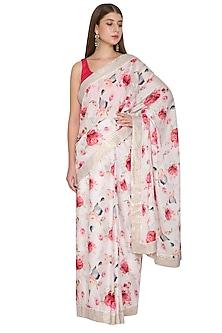 Blush Pink & Fuchsia Floral Saree Set by Khushbu Rathod