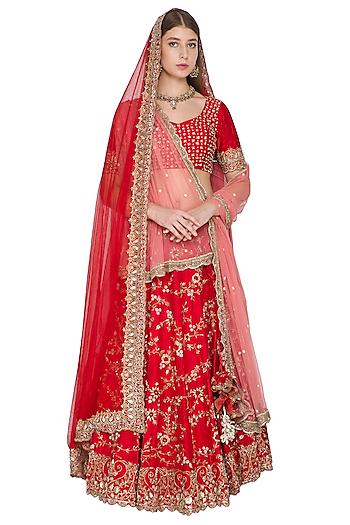 Red Embroidered Lehenga Set With Dual Tone Dupatta by Khushbu Rathod