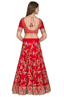 Red Embroidered Lehenga Set With Dual Tone Dupatta by Khushbu Rathod