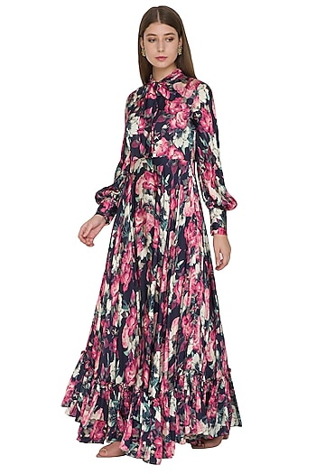 Black Silk Floral Gown With Lantern Sleeves by Khushbu Rathod