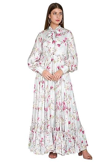 Powder Blue Silk Floral Gown by Khushbu Rathod