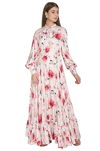Blush Pink Floral Gown With Lantern Sleeves by Khushbu Rathod