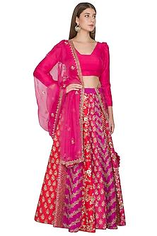 Fuchsia & Pink Embroidered Lehenga Set by Khushbu Rathod-EDITOR'S PICK