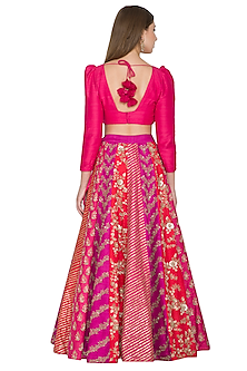Fuchsia & Pink Embroidered Lehenga Set by Khushbu Rathod