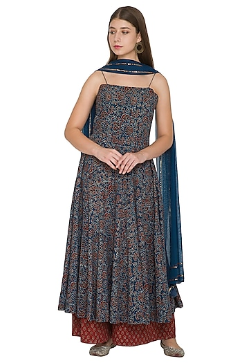 Cobalt Blue Cotton Ajrakh Anarkali Set by Khushbu Rathod