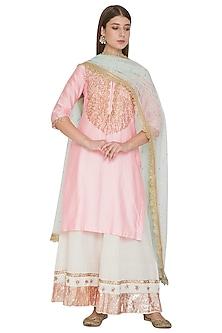 Blush Pink Embroidered Kurta Set by Khushbu Rathod