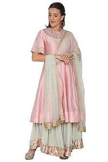 Blush Pink & Sea Green Anarkali Set by Khushbu Rathod