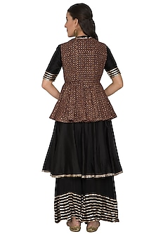 Black Embroidered Anarkali Set by Khushbu Rathod