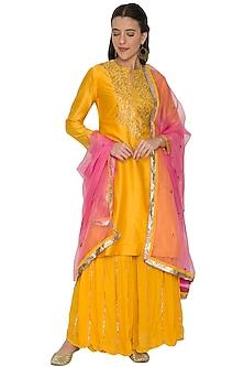 Yellow & Pink Embroidered Sharara Set by Khushbu Rathod
