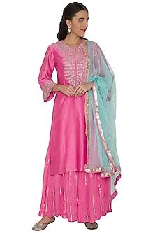 Pink & Turquoise Blue Embroidered Sharara Set by Khushbu Rathod
