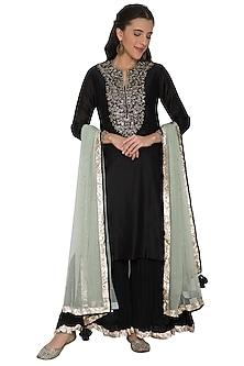 Black Embroidered Sharara Set by Khushbu Rathod