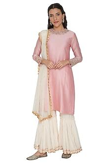 Blush Pink & Off-White Embroidered Sharara Set by Khushbu Rathod