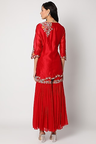 Red Embroidered Sharara Set by Khushboo Bagri