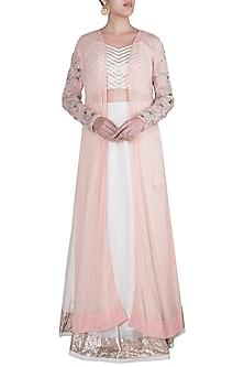 Peach Pink & Off White Embroidered Jacket Lehenga Set by Khushbu Rathod