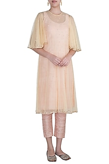 Peach Pink Kurta With Pants & Daffodil Yellow Embroidered Cape by Khushbu Rathod