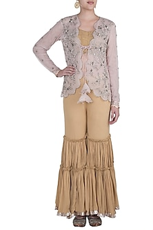 Castilian Gold Bandeau Top With Sharara Pants & Pale Pink Embroidered Jacket by Khushbu Rathod