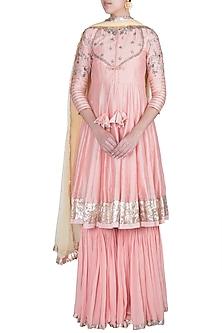 Peach Pink & Daffodil Yellow Embroidered Anarkali Sharara Set by Khushbu Rathod