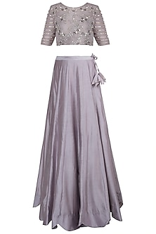 Warm Grey Embroidered Lehenga Set by Khushbu Rathod