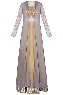 Castilian Gold & Grey Embroidered Jacket Lehenga Set by Khushbu Rathod