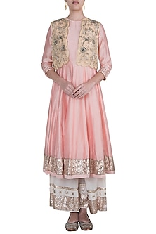 Peach Pink Anarkali Set With Daffodil Yellow Embroidered Jacket by Khushbu Rathod