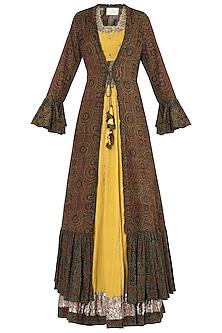 Yellow embroidered lehenga set with jacket by Khushbu Rathod