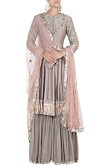 Dusty mink embroidered anarkali set by Khushbu Rathod