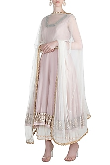 Pastel pink embroidered anarkali set by Khushbu Rathod