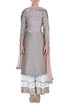 Dusty mink embroidered kurta set by Khushbu Rathod