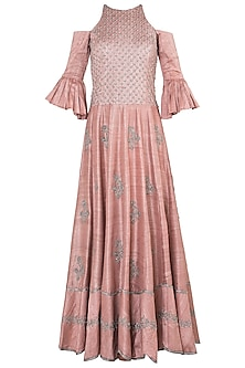 Muted pink embroidered cold shoulder gown by Khushbu Rathod