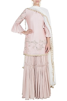 Pastel pink embroidered sharara set by Khushbu Rathod