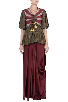Maroon embroidered top with dhoti pants by Khushbu Rathod