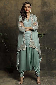 Sea Blue Embroidered Jacket Set by Khushboo Bagri