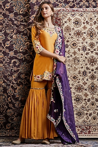 Ochre & Purple Embroidered Sharara Set by Khushboo Bagri