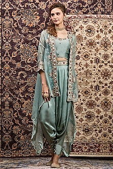 Sky Blue Pearls Embroidered Jacket Set by Khushboo Bagri