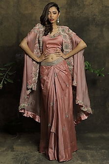 Mauve Embroidered Skirt Set by Khushboo Bagri
