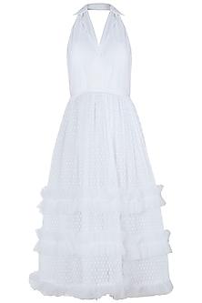 White sleeveless midi dress by KHWAAB