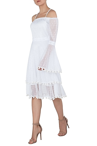 White bell sleeves midi dress by KHWAAB
