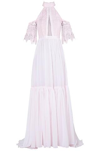 Pink bardot sleeves maxi dress by KHWAAB