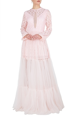 Pink sheer maxi dress by KHWAAB