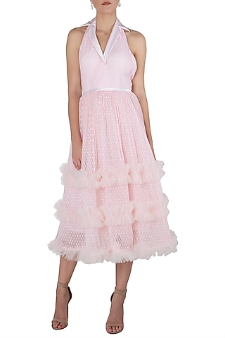 Pink sleeveless tulle dress by KHWAAB