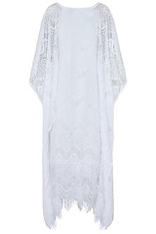 White kaftan dress by KHWAAB