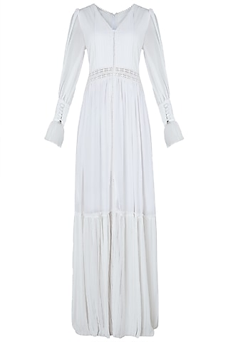White front slit maxi dress by KHWAAB