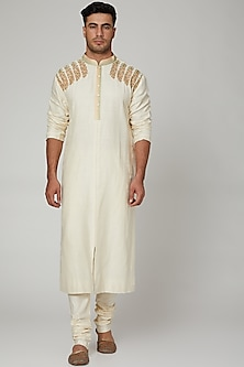 Off White Line Embroidered Kurta Set by Kishore Ramani